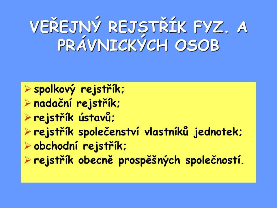 VEŘEJNÝ REJSTŘÍK FYZ.