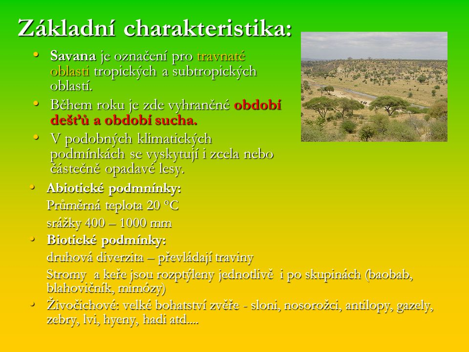 Základní charakteristika: Savana je označení pro travnaté oblasti tropických a subtropických oblastí. Savana je označení pro travnaté oblasti tropický
