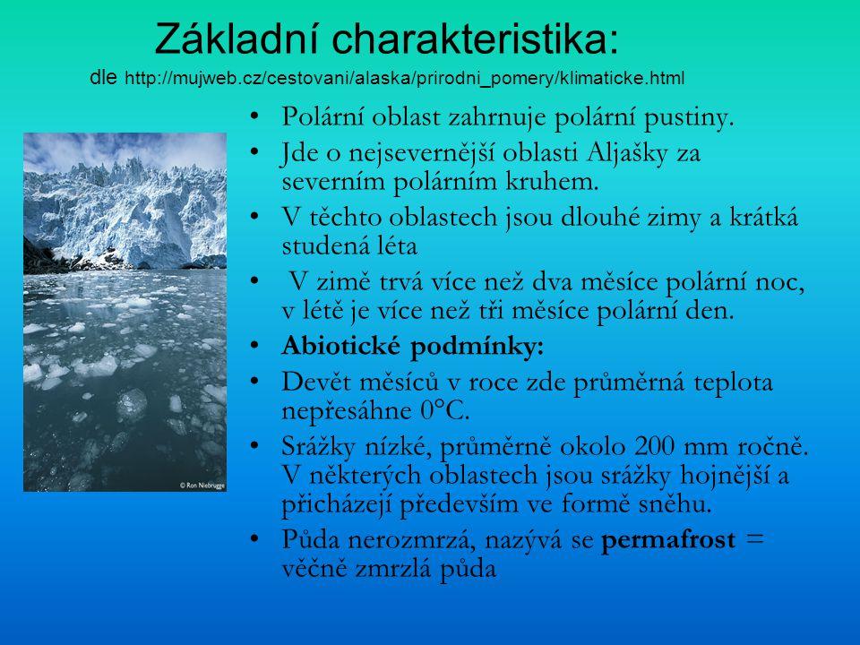 Základní charakteristika: dle http://mujweb.cz/cestovani/alaska/prirodni_pomery/klimaticke.html Polární oblast zahrnuje polární pustiny. Jde o nejseve