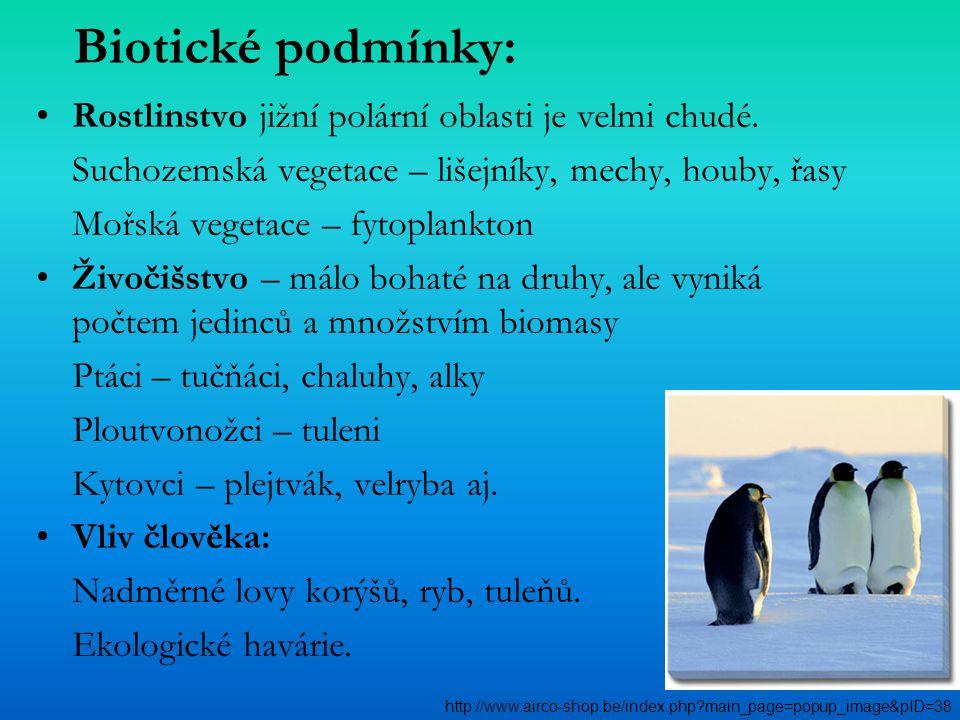 Biotické podmínky: Rostlinstvo jižní polární oblasti je velmi chudé. Suchozemská vegetace – lišejníky, mechy, houby, řasy Mořská vegetace – fytoplankt