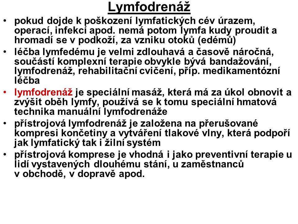 Lymfodrenáž pokud dojde k poškození lymfatických cév úrazem, operací, infekcí apod. nemá potom lymfa kudy proudit a hromadí se v podkoží, za vzniku ot
