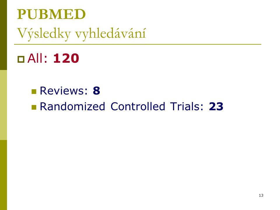 13 PUBMED Výsledky vyhledávání  All: 120 Reviews: 8 Randomized Controlled Trials: 23