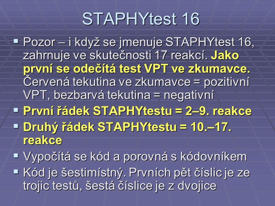 STAPHYtest 16  Pozor – i když se jmenuje STAPHYtest 16, zahrnuje ve skutečnosti 17 reakcí. Jako první se odečítá test VPT ve zkumavce. Červená tekuti