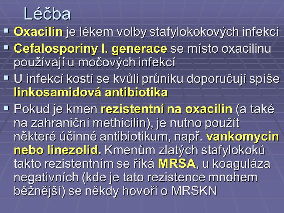 Léčba  Oxacilin je lékem volby stafylokokových infekcí  Cefalosporiny I. generace se místo oxacilinu používají u močových infekcí  U infekcí kostí