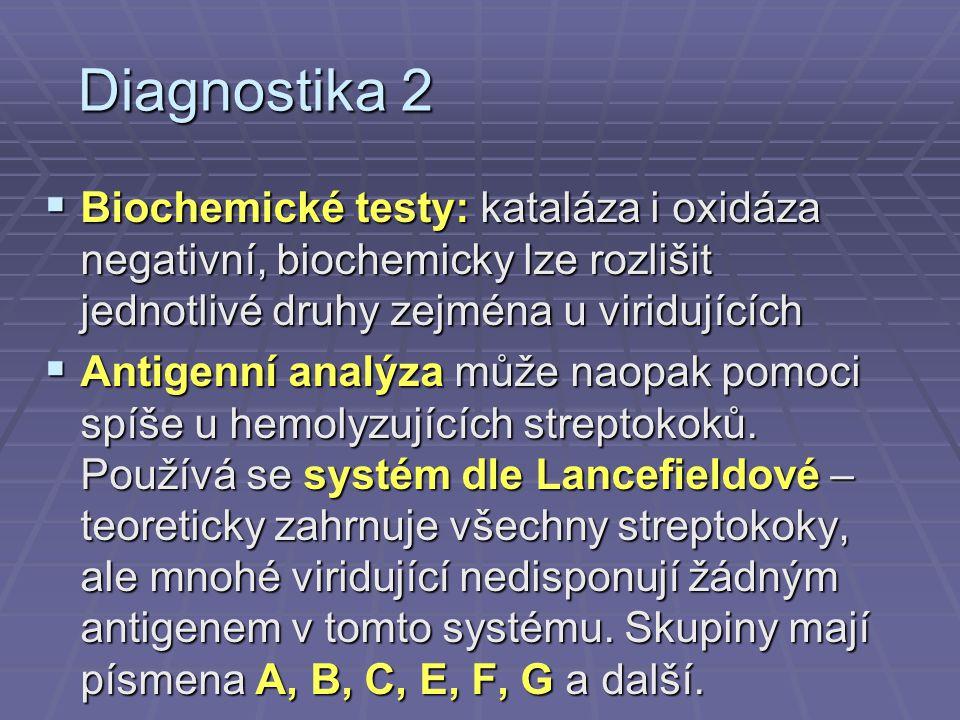 Diagnostika 2  Biochemické testy: kataláza i oxidáza negativní, biochemicky lze rozlišit jednotlivé druhy zejména u viridujících  Antigenní analýza