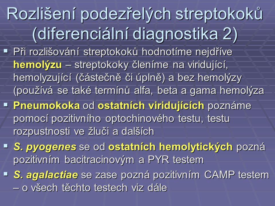 Rozlišení podezřelých streptokoků (diferenciální diagnostika 2)  Při rozlišování streptokoků hodnotíme nejdříve hemolýzu – streptokoky členíme na vir
