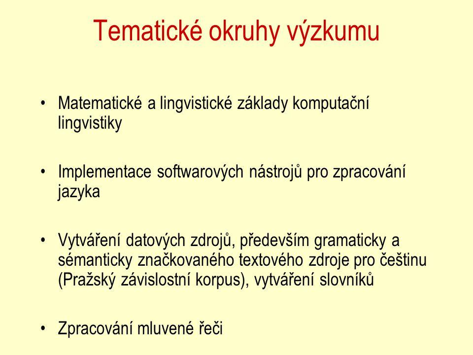 Tematické okruhy výzkumu Matematické a lingvistické základy komputační lingvistiky Implementace softwarových nástrojů pro zpracování jazyka Vytváření datových zdrojů, především gramaticky a sémanticky značkovaného textového zdroje pro češtinu (Pražský závislostní korpus), vytváření slovníků Zpracování mluvené řeči
