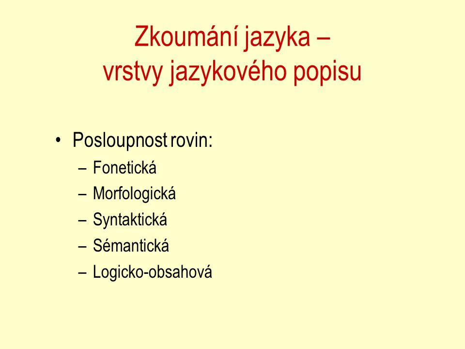 Dílčí úlohy na jednotlivých rovinách Určování slovotvorných kategorií slov (pád,číslo,rod,osoba….) Syntaktická analýza vět Určování významu slova na základě kontextu K čemu odkazují zájmena