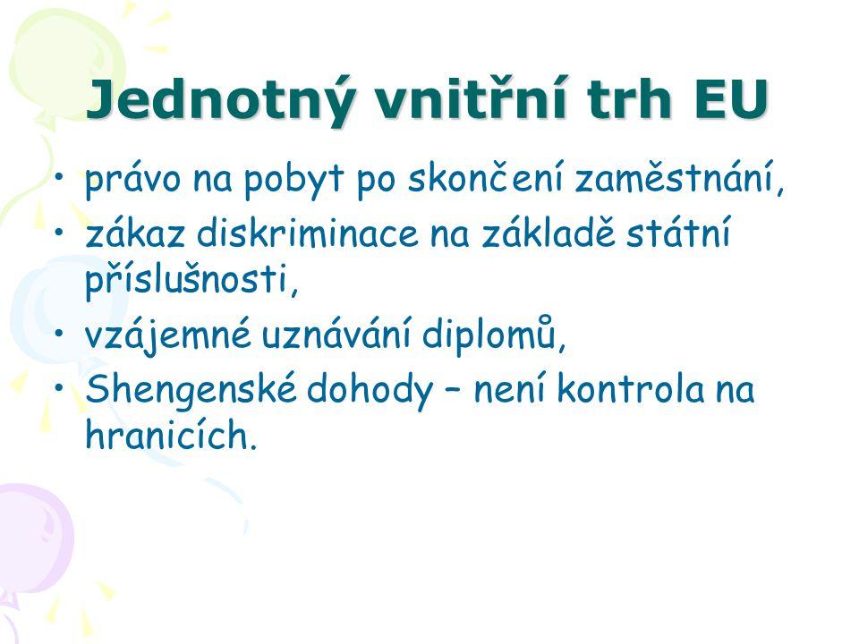 Jednotný vnitřní trh EU právo na pobyt po skončení zaměstnání, zákaz diskriminace na základě státní příslušnosti, vzájemné uznávání diplomů, Shengensk