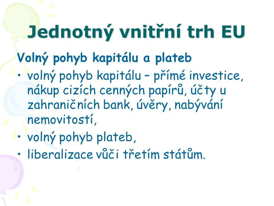 Jednotný vnitřní trh EU Volný pohyb kapitálu a plateb volný pohyb kapitálu – přímé investice, nákup cizích cenných papírů, účty u zahraničních bank, ú