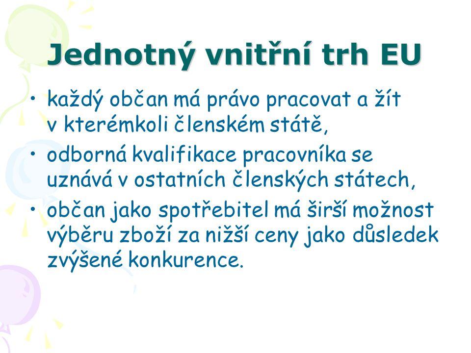 Jednotný vnitřní trh EU každý občan má právo pracovat a žít v kterémkoli členském státě, odborná kvalifikace pracovníka se uznává v ostatních členskýc