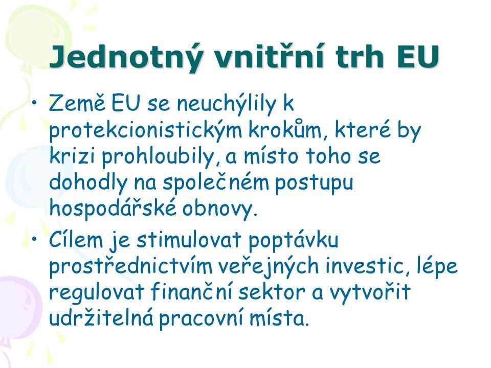 Jednotný vnitřní trh EU Země EU se neuchýlily k protekcionistickým krokům, které by krizi prohloubily, a místo toho se dohodly na společném postupu ho