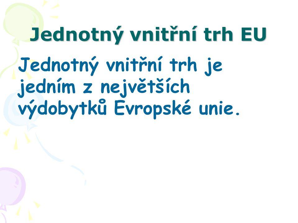 Jednotný vnitřní trh EU Volný pohyb kapitálu a plateb volný pohyb kapitálu – přímé investice, nákup cizích cenných papírů, účty u zahraničních bank, úvěry, nabývání nemovitostí, volný pohyb plateb, liberalizace vůči třetím státům.