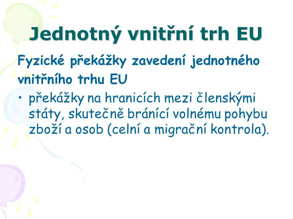 Jednotný vnitřní trh EU Fyzické překážky zavedení jednotného vnitřního trhu EU překážky na hranicích mezi členskými státy, skutečně bránící volnému po