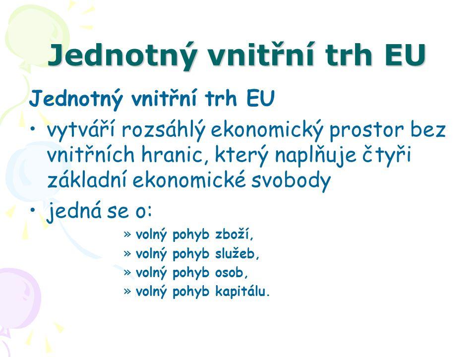 Jednotný vnitřní trh EU V rámci Evropské unie musely být vytvořeny podmínky pro –volný pohyb zboží mezi členskými státy bez jakýchkoli překážek, –volný pohyb osob mezi členskými zeměmi s právem usadit se, pracovat a žít v kterékoli zemi ES, –volný pohyb kapitálu mezi členskými zeměmi bez jakýchkoli omezení a překážek, –volný prostor pro poskytování služeb po celém území ES.