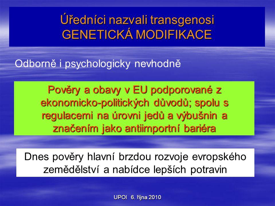 UPOl 6. října 2010 Úředníci nazvali transgenosi GENETICKÁ MODIFIKACE Odborně i psychologicky nevhodně Pověry a obavy v EU podporované z ekonomicko-pol