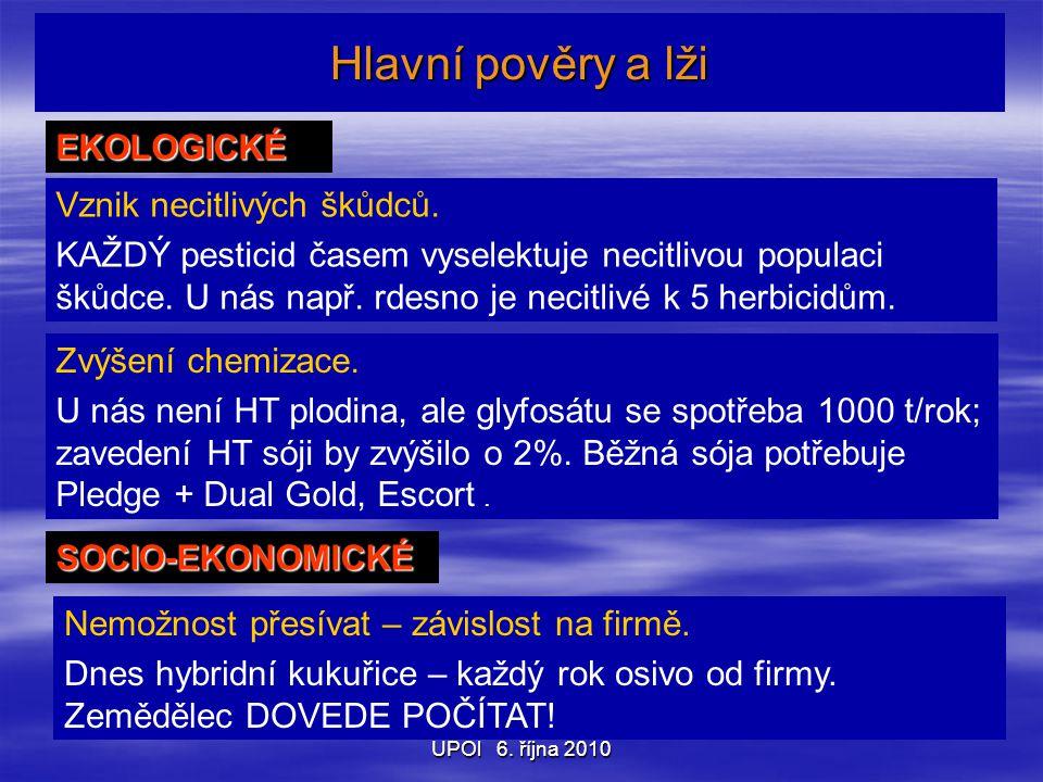UPOl 6. října 2010 Hlavní pověry a lži EKOLOGICKÉ Vznik necitlivých škůdců.