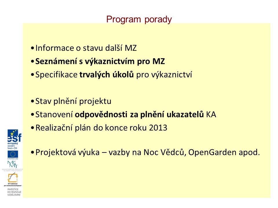 Program porady Informace o stavu další MZ Seznámení s výkaznictvím pro MZ Specifikace trvalých úkolů pro výkaznictví Stav plnění projektu Stanovení odpovědnosti za plnění ukazatelů KA Realizační plán do konce roku 2013 Projektová výuka – vazby na Noc Vědců, OpenGarden apod.