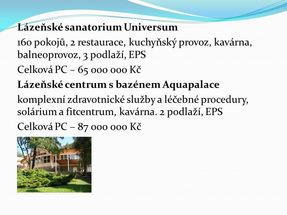 Lázeňské sanatorium Universum 160 pokojů, 2 restaurace, kuchyňský provoz, kavárna, balneoprovoz, 3 podlaží, EPS Celková PC – 65 000 000 Kč Lázeňské centrum s bazénem Aquapalace komplexní zdravotnické služby a léčebné procedury, solárium a fitcentrum, kavárna.