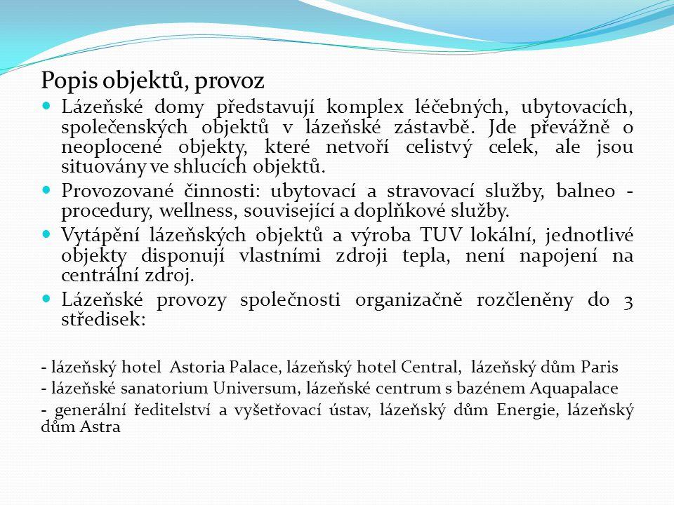 Popis objektů, provoz Lázeňské domy představují komplex léčebných, ubytovacích, společenských objektů v lázeňské zástavbě.
