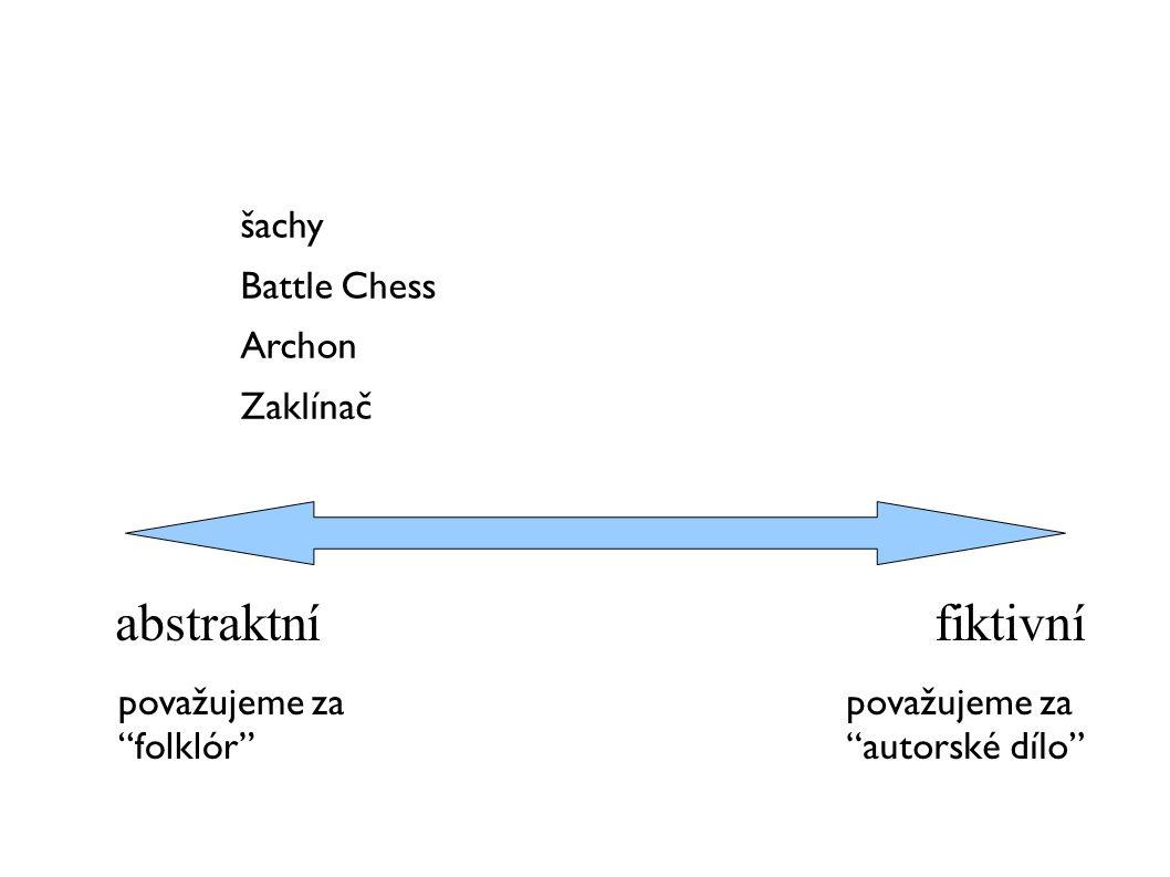 """abstraktní fiktivní šachy Battle Chess Archon Zaklínač považujeme za """"folklór"""" považujeme za """"autorské dílo"""""""