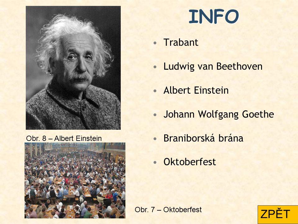 INFO Trabant Ludwig van Beethoven Albert Einstein Johann Wolfgang Goethe Braniborská brána Oktoberfest Obr.