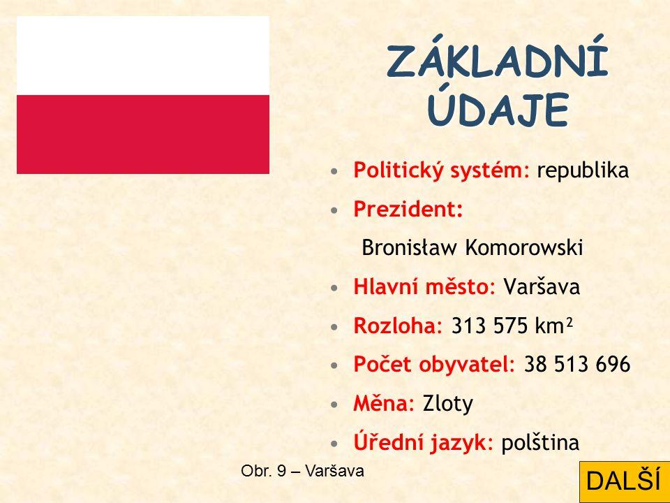 Politický systém: republika Prezident: Bronisław Komorowski Hlavní město: Varšava Rozloha: 313 575 km² Počet obyvatel: 38 513 696 Měna: Zloty Úřední jazyk: polština ZÁKLADNÍ ÚDAJE Obr.