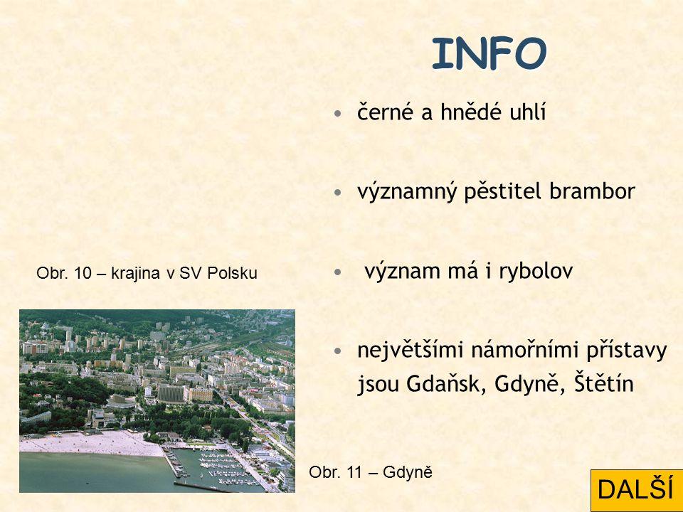 INFO černé a hnědé uhlí významný pěstitel brambor význam má i rybolov největšími námořními přístavy jsou Gdaňsk, Gdyně, Štětín Obr.