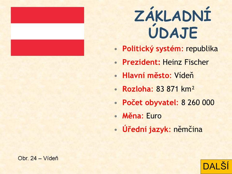 Politický systém: republika Prezident: Heinz Fischer Hlavní město: Vídeň Rozloha: 83 871 km² Počet obyvatel: 8 260 000 Měna: Euro Úřední jazyk: němčina ZÁKLADNÍ ÚDAJE Obr.