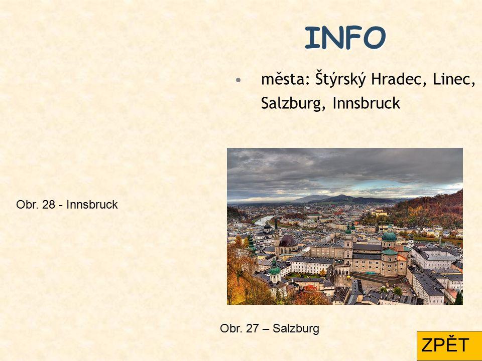 INFO města: Štýrský Hradec, Linec, Salzburg, Innsbruck Obr. 27 – Salzburg Obr. 28 - Innsbruck ZPĚT