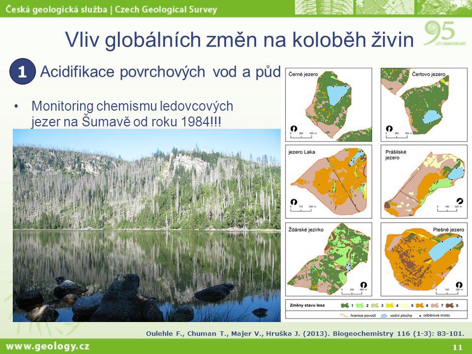 11 Vliv globálních změn na koloběh živin Monitoring chemismu ledovcových jezer na Šumavě od roku 1984!!! Acidifikace povrchových vod a půd 1 Oulehle F
