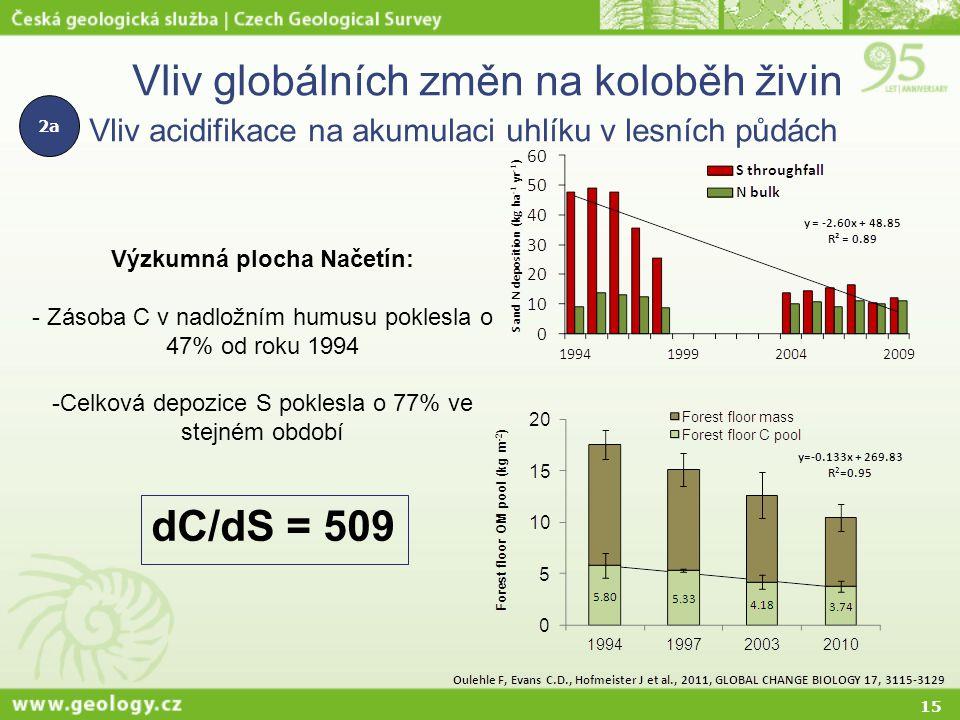 15 Vliv globálních změn na koloběh živin Vliv acidifikace na akumulaci uhlíku v lesních půdách Výzkumná plocha Načetín: - Zásoba C v nadložním humusu