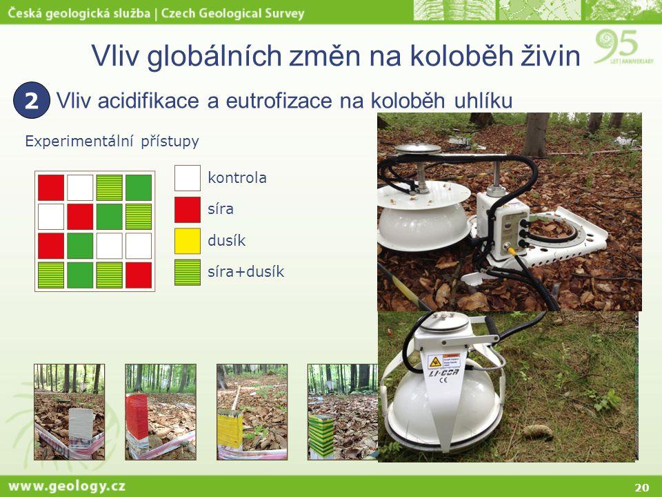 20 Vliv globálních změn na koloběh živin Vliv acidifikace a eutrofizace na koloběh uhlíku 2 Experimentální přístupy kontrola síra dusík síra+dusík