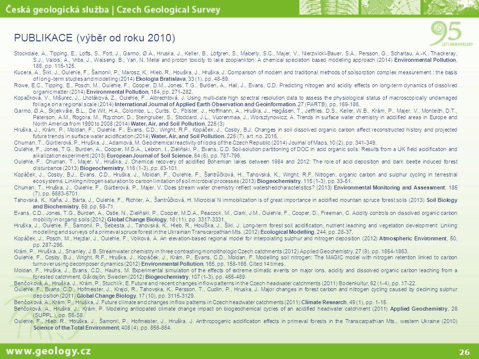 26 PUBLIKACE (výběr od roku 2010) Stockdale, A., Tipping, E., Lofts, S., Fott, J., Garmo, Ø.A., Hruska, J., Keller, B., Löfgren, S., Maberly, S.C., Ma