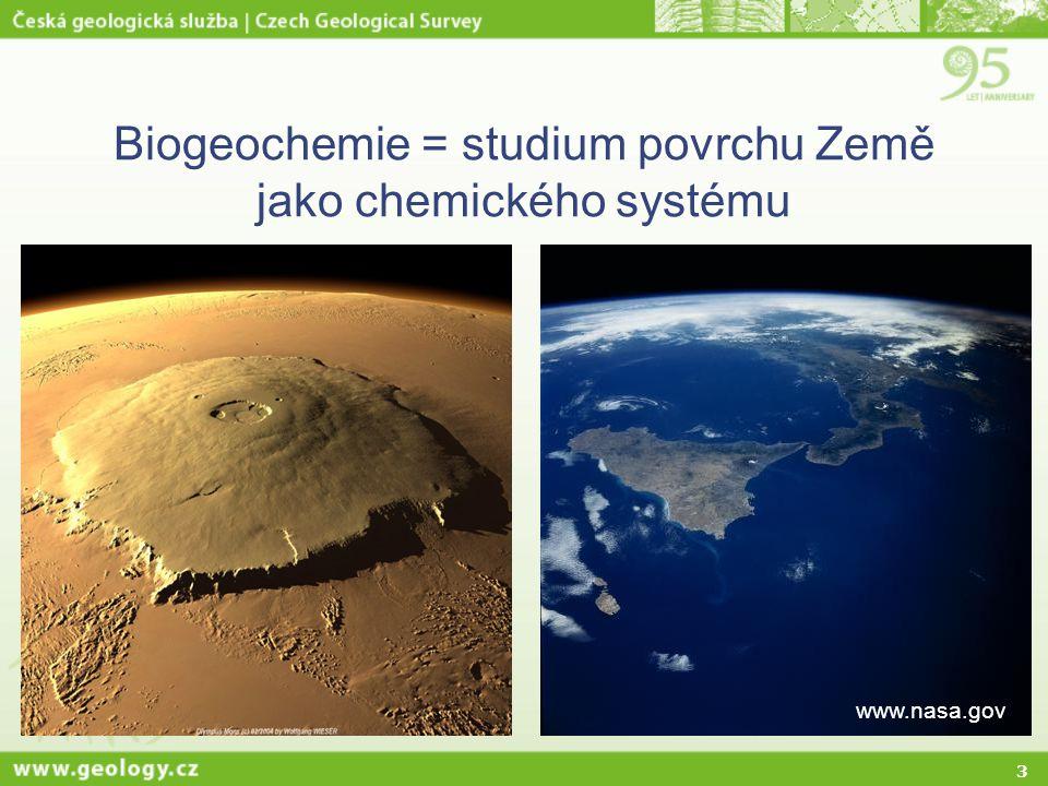 3 Biogeochemie = studium povrchu Země jako chemického systému www.nasa.gov
