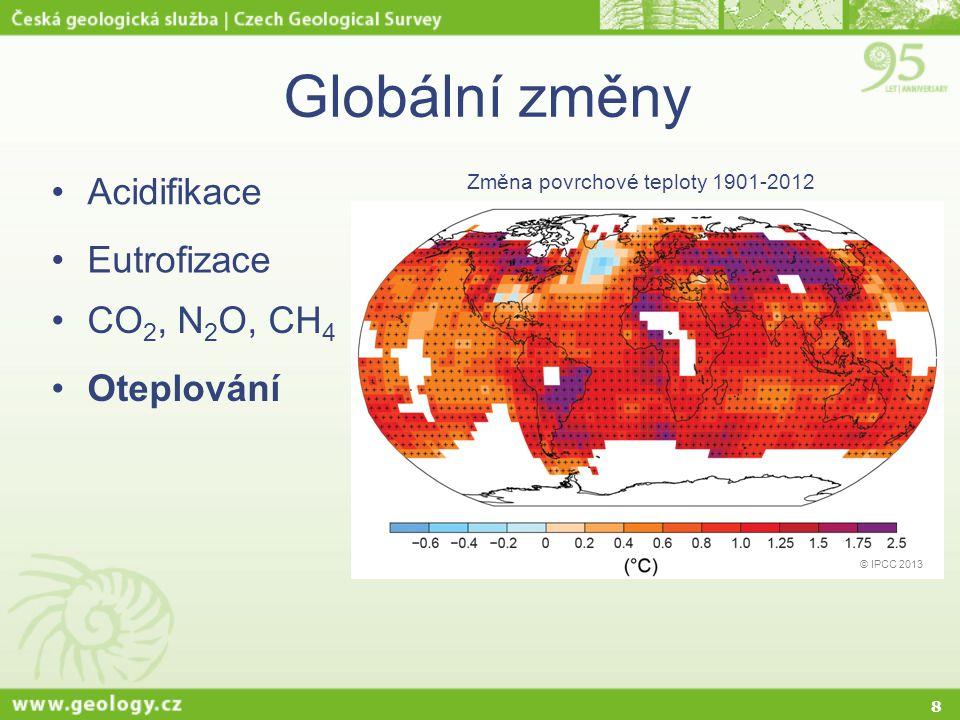 8 Globální změny Acidifikace Eutrofizace CO 2, N 2 O, CH 4 Oteplování © IPCC 2013 Změna povrchové teploty 1901-2012