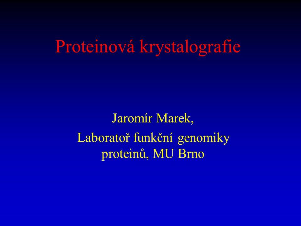 Proteinová krystalografie Jaromír Marek, Laboratoř funkční genomiky proteinů, MU Brno