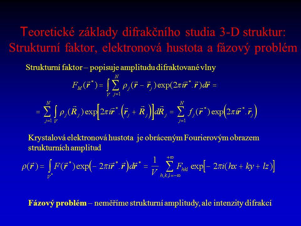 T eoretické základy difrakčního studia 3-D struktur: Strukturní faktor, elektronová hustota a fázový problém Strukturní faktor – popisuje amplitudu di