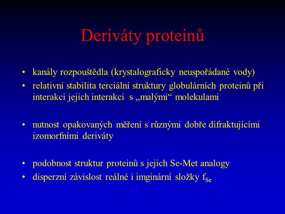 Deriváty proteinů kanály rozpouštědla (krystalograficky neuspořádané vody) relativní stabilita terciální struktury globulárních proteinů při interakci