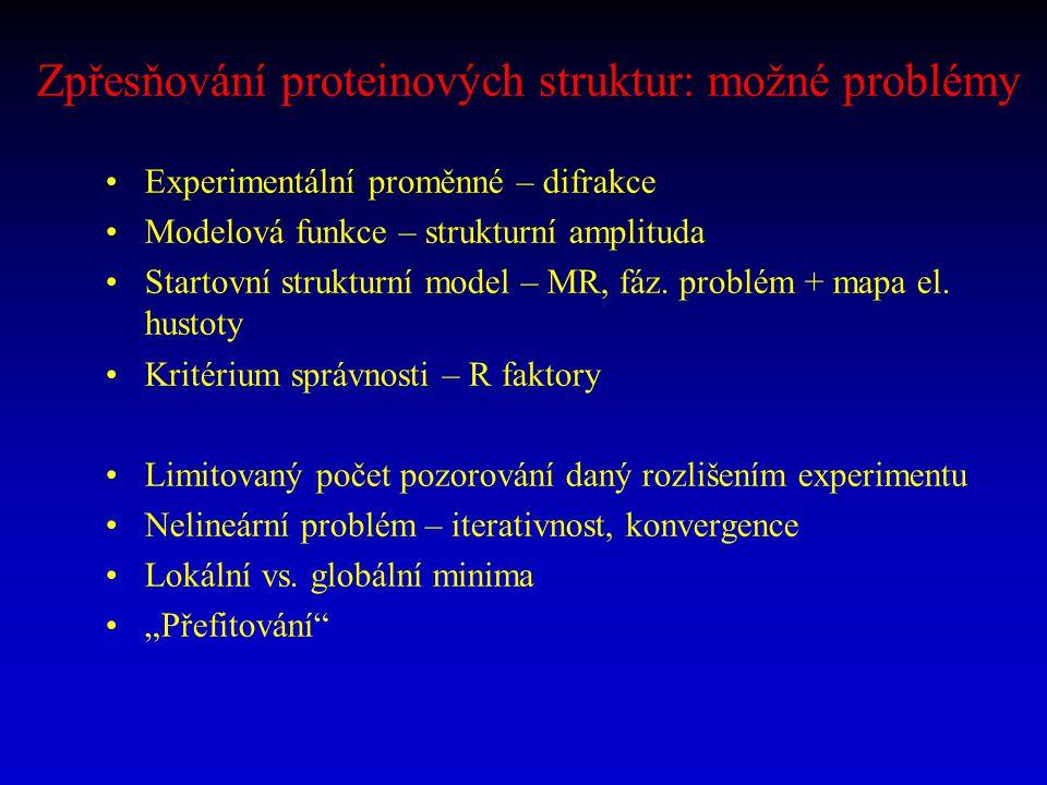 Zpřesňování proteinových struktur: možné problémy Experimentální proměnné – difrakce Modelová funkce – strukturní amplituda Startovní strukturní model