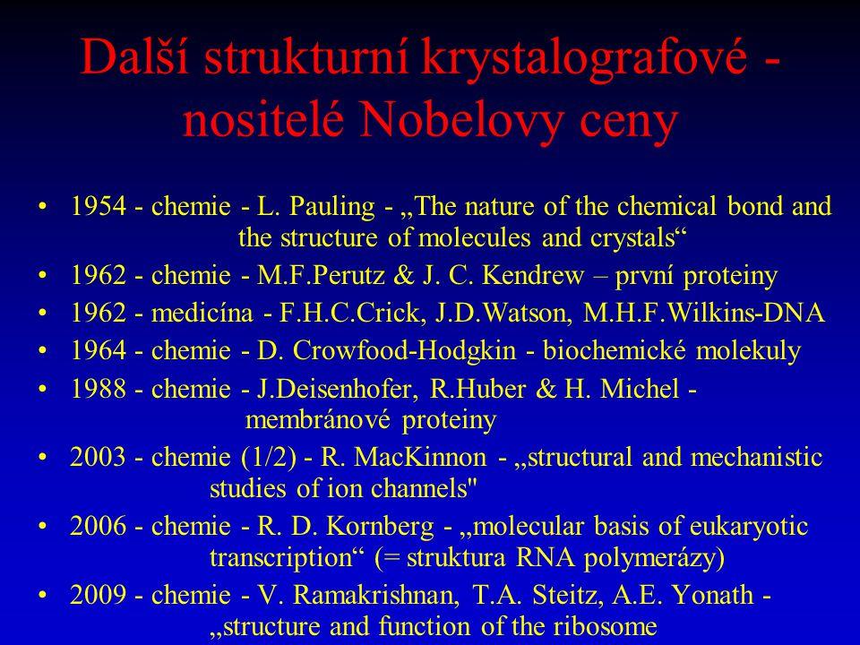 """Další strukturní krystalografové - nositelé Nobelovy ceny 1954 - chemie - L. Pauling - """"The nature of the chemical bond and the structure of molecules"""