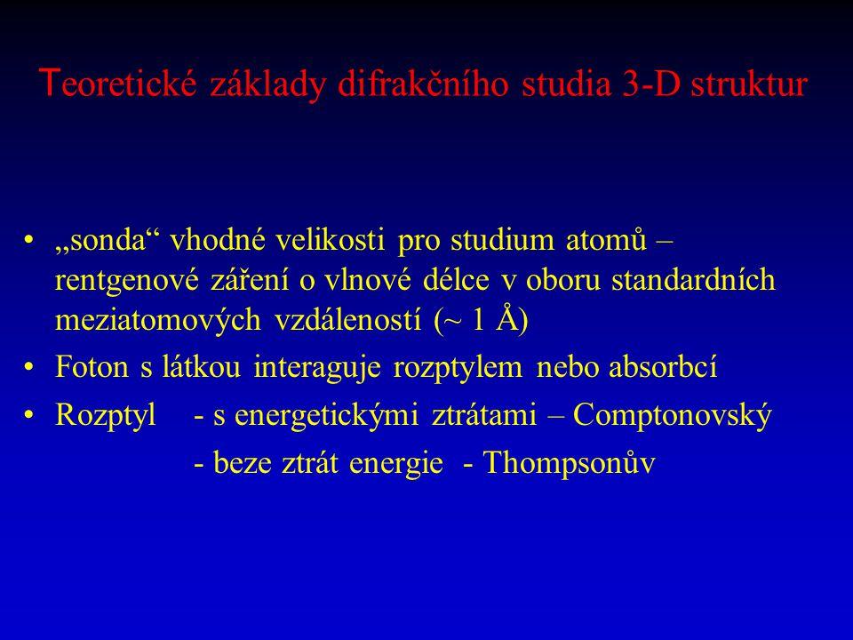 T eoretické základy difrakčního studia 3-D struktur: Thompsonův rozptyl rentgenového záření Nabitá částice je v poli rovinného monochromatického záření sekundárním zdrojem elektromagnetického pole Rozptyl na protonech je nevýznamný (je 1837 2 x slabší), difrakcí RTG záření studujeme elektronovou strukturu látky