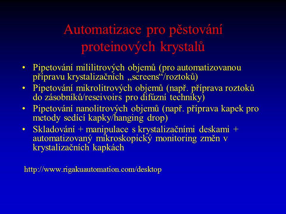 """Automatizace pro pěstování proteinových krystalů Pipetování mililitrových objemů (pro automatizovanou přípravu krystalizačních """"screens""""/roztoků) Pipe"""