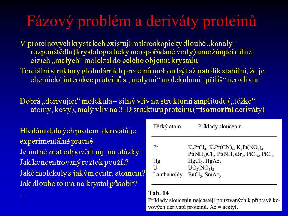 """Fázový problém a deriváty proteinů V proteinových krystalech existují makroskopicky dlouhé """"kanály"""" rozpouštědla (krystalograficky neuspořádané vody)"""