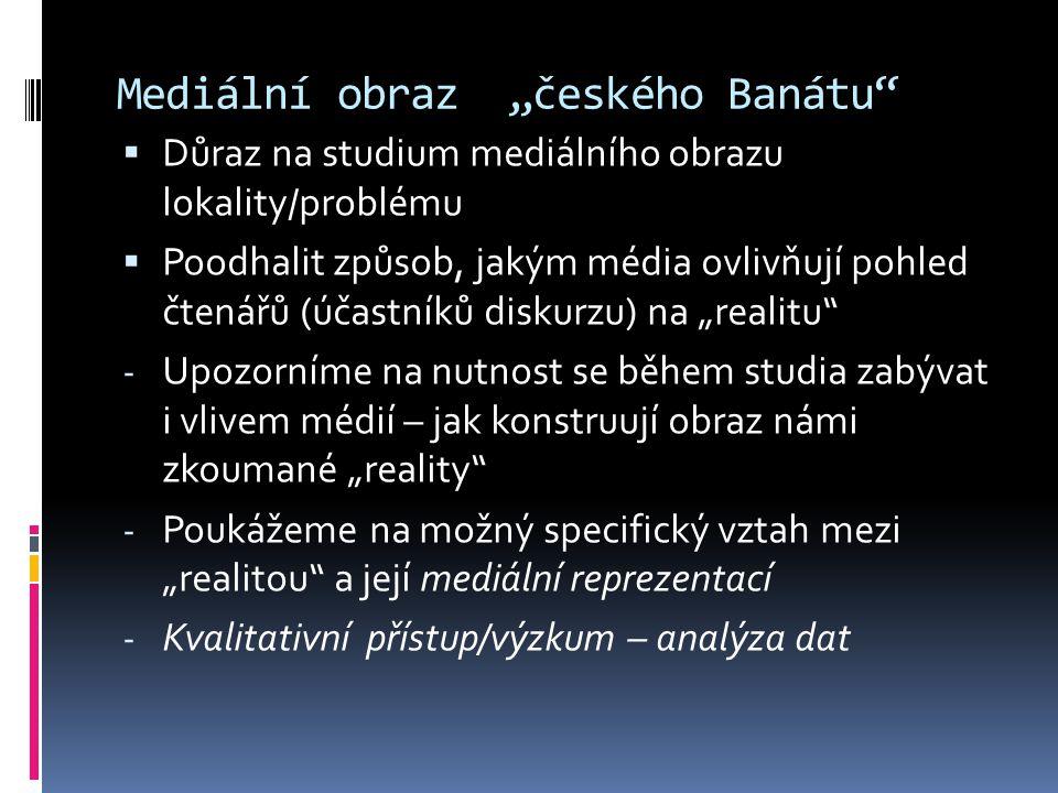 """Mediální obraz """"českého Banátu  Důraz na studium mediálního obrazu lokality/problému  Poodhalit způsob, jakým média ovlivňují pohled čtenářů (účastníků diskurzu) na """"realitu - Upozorníme na nutnost se během studia zabývat i vlivem médií – jak konstruují obraz námi zkoumané """"reality - Poukážeme na možný specifický vztah mezi """"realitou a její mediální reprezentací - Kvalitativní přístup/výzkum – analýza dat"""