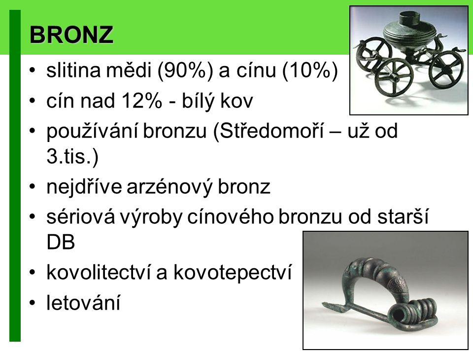BRONZ slitina mědi (90%) a cínu (10%) cín nad 12% - bílý kov používání bronzu (Středomoří – už od 3.tis.) nejdříve arzénový bronz sériová výroby cínov