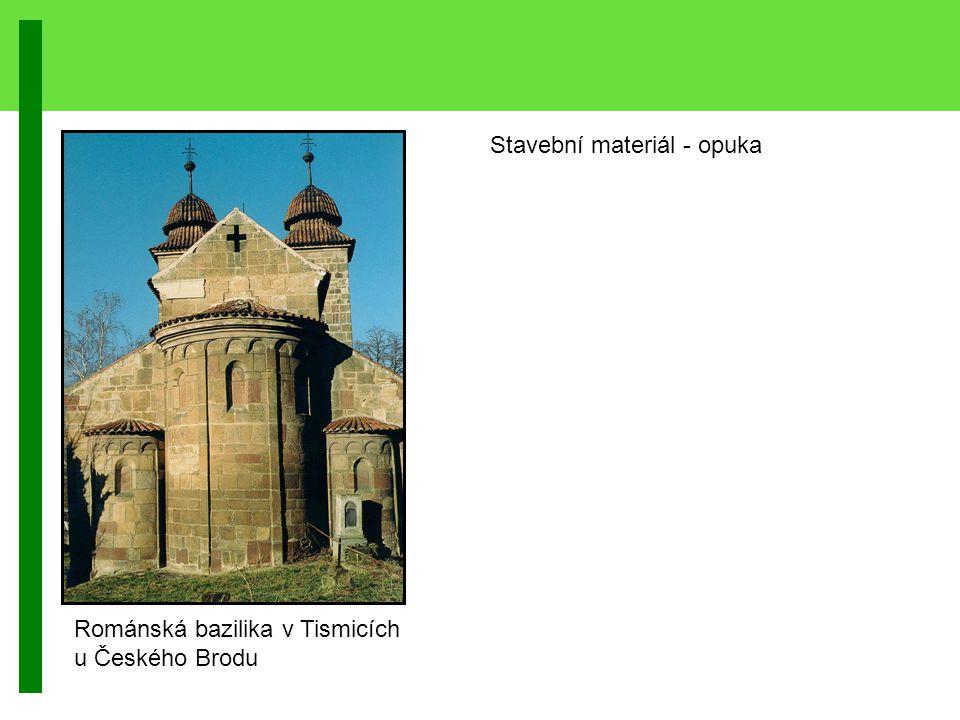 Stavební materiál - opuka Románská bazilika v Tismicích u Českého Brodu
