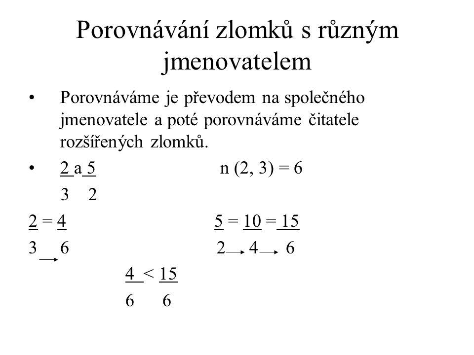 Porovnávání zlomků s různým jmenovatelem Porovnáváme je převodem na společného jmenovatele a poté porovnáváme čitatele rozšířených zlomků. 2 a 5 n (2,