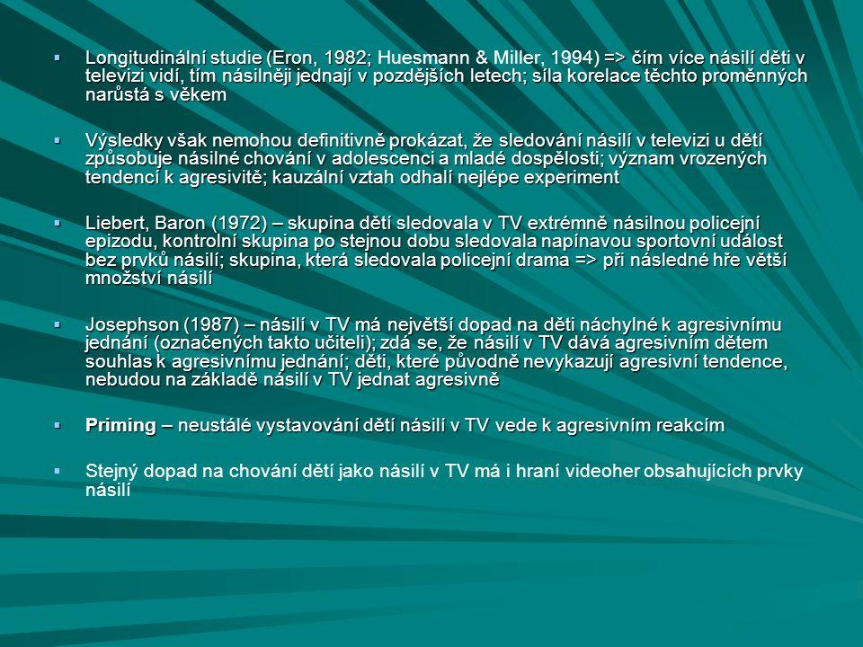  Longitudinální studie (Eron, 1982; => čím více násilí děti v televizi vidí, tím násilněji jednají v pozdějších letech; síla korelace těchto proměnný