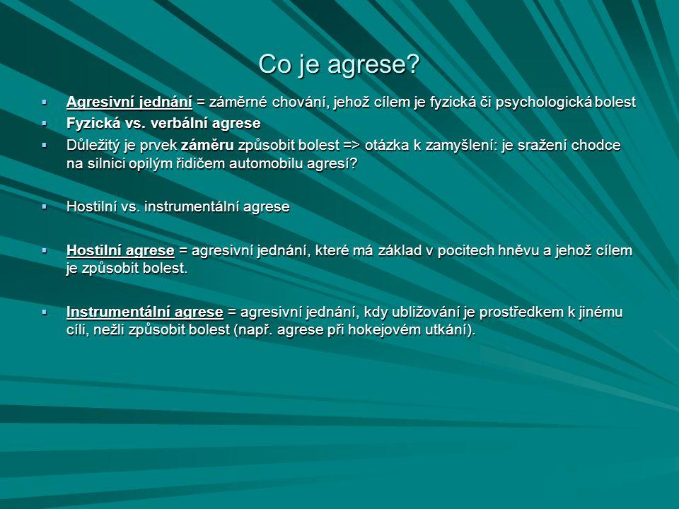 Co je agrese?  Agresivní jednání = záměrné chování, jehož cílem je fyzická či psychologická bolest  Fyzická vs. verbální agrese  Důležitý je prvek